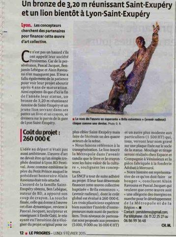 Article dans le journal le progres pour le projet de la sculpture à Lyon